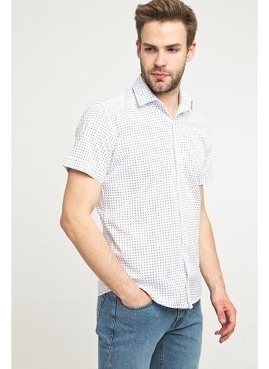 Kiğılı Kısa Kol Desenli Slim Fit Gömlek Beyaz